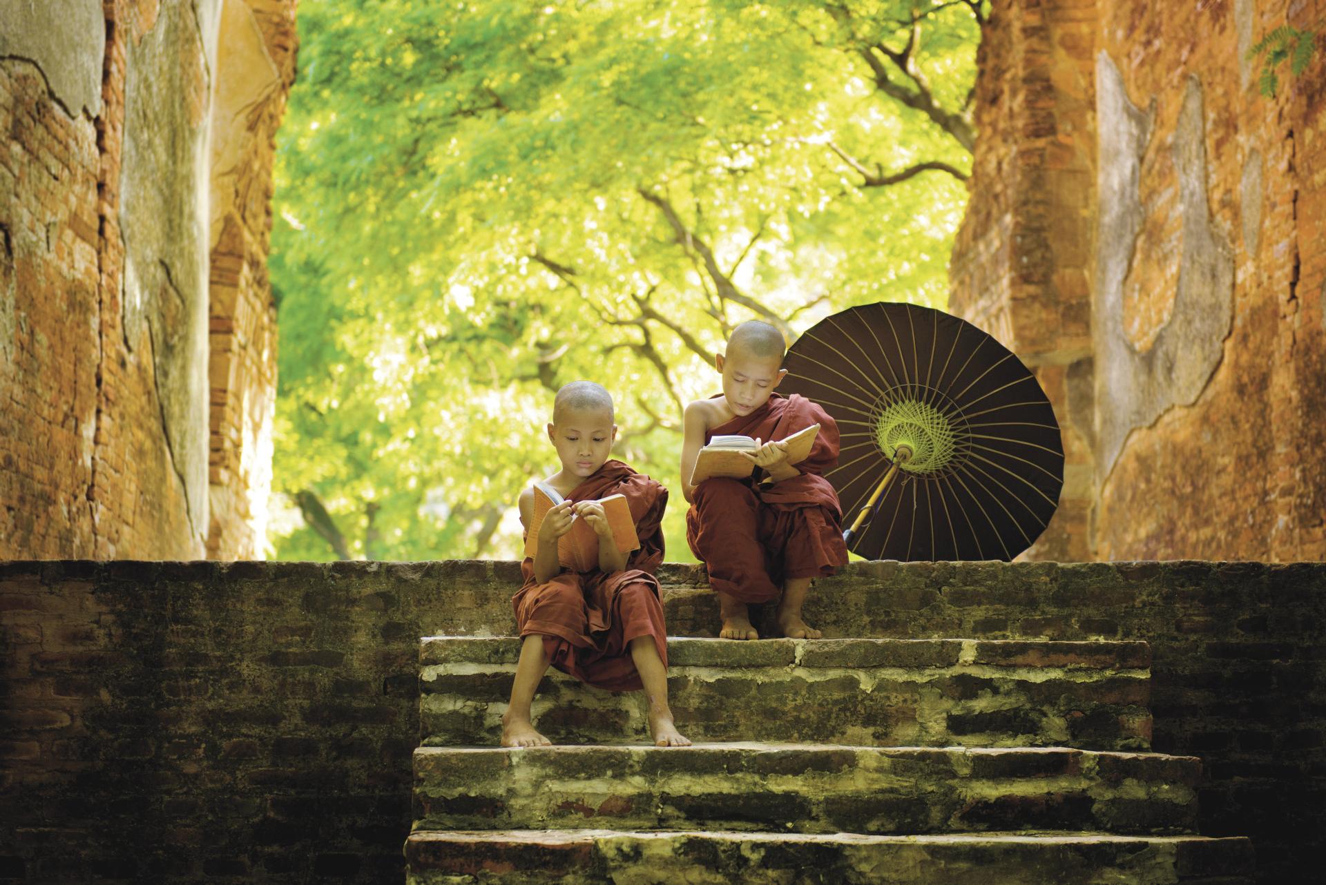 Junge buddhistische Mönche auf der Treppe