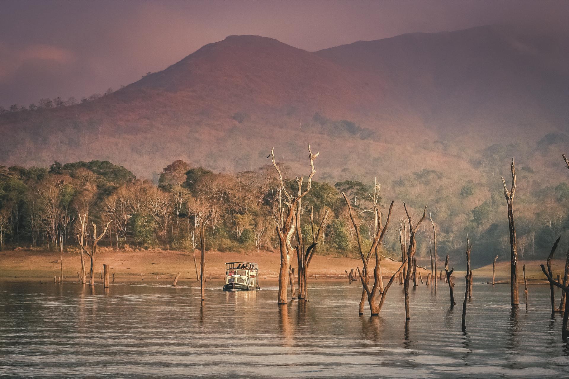 Bootsfahrt auf dem Thekaddy Lake im Periyar Nationalpark