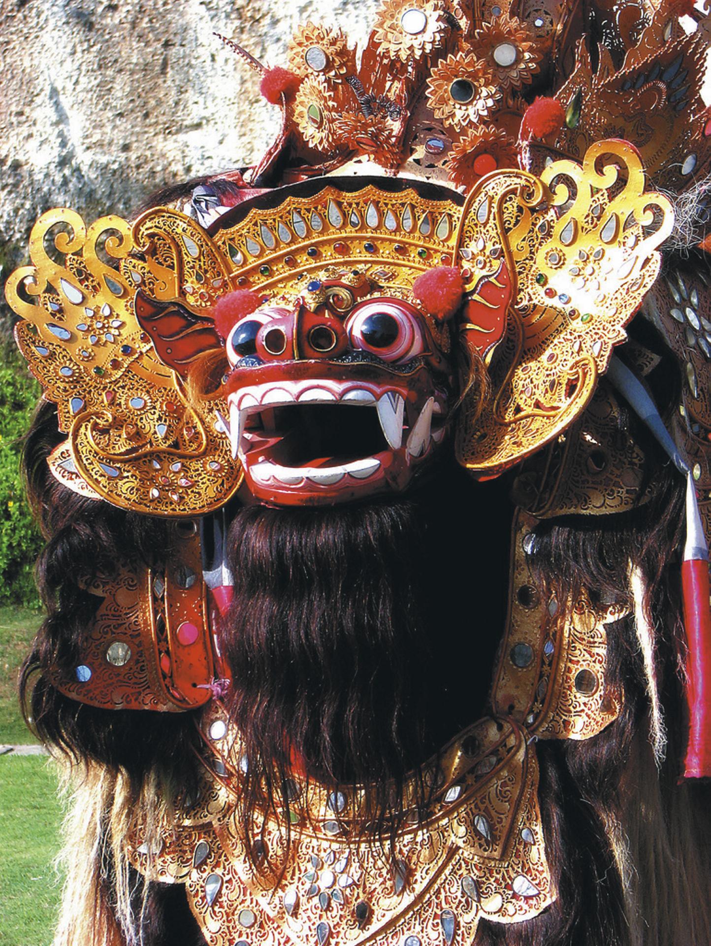 Löwenmaske des Barong-Tanzes